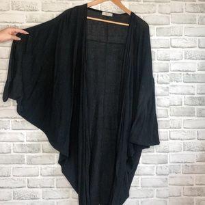 Sweaters - Oversized Asymmetrical Black Cardigan